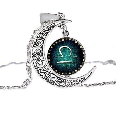 Women 12 Signs Of The Zodiac Crescent Moon Glass Necklace Pendant
