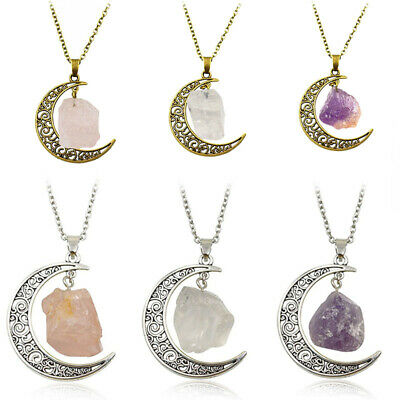 Natural Quartz Crystal Moon Pendant Chakra Healing Gemstone Necklace Jewelry
