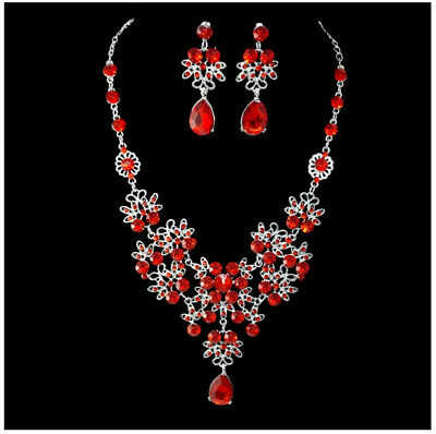 New Water Droplet Pendant Necklace Crystal Earring Sparkling Jewelry Set Wedding