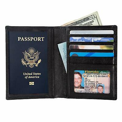 RFID Passport Wallet Travel Organizer - 2 Passport Holder - Slim Leather Bifold