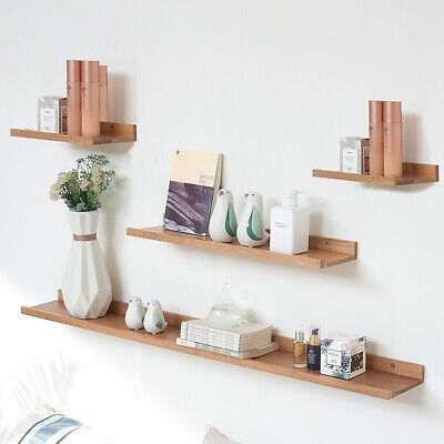 Wooden Floating Shelf Shelves Wall Mounted Display Unit Home Office Bathroom