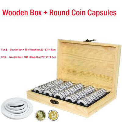 50/100 Capsules Wooden Coins Display Storage Box Case for Collectible Coin New