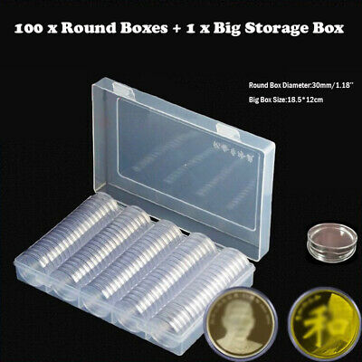 100pcs Coin Capsules+Big Box Clear Plastic Cases Applied Storage Holder Home