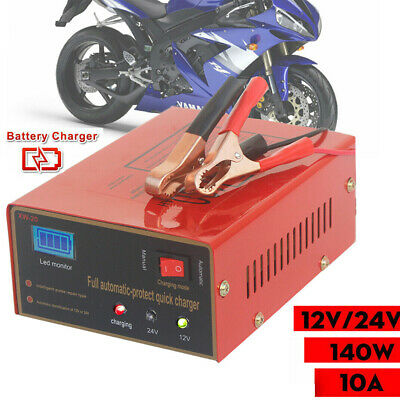 12V/24V Car Motorcycle Lead Acid Battery Charger Manual Automatically Mode 140W