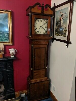 19th Century, OAK & MAHOGANY LONG-CASE CLOCK.