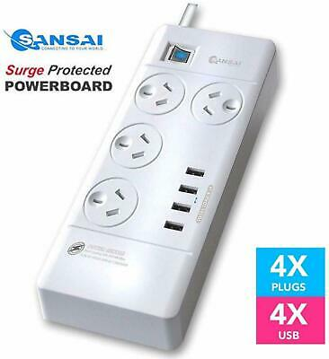 SANSAI Power Board Strip Extension 4 Outlet Surge 4 USB Charger (4 Way) White