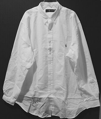 Polo Ralph Lauren Big and Tall Mens White Button-Front Dress Shirt NWT Size 3XLT