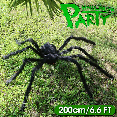 200cm Giant Big Spider Decorations Huge Halloween Outdoor Garden Decor 6.6FT