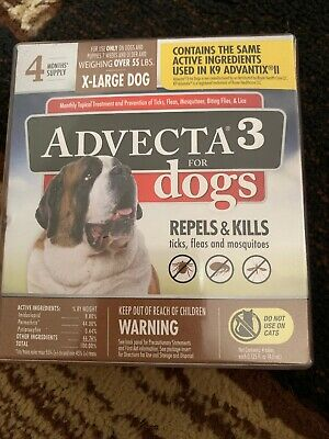 Advecta 3 Flea and Tick Topical Treatment for X-Large dogs over 55 lbs, 4 mo.Sup
