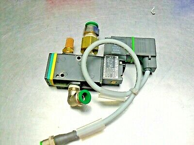 Nordson 1055481 solenoid valve assy, w/ fittings, Mounted never used, NEW