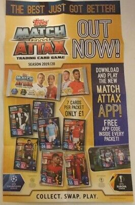 Topps Match Attax Uefa Football Season 2019/20 Trading Card Card Game Poster.new