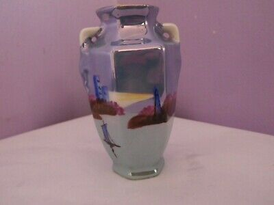 Lovely Vintage Japanese Porcelain Lighthouse & Boat Design Vase 8.5 Cms Tall
