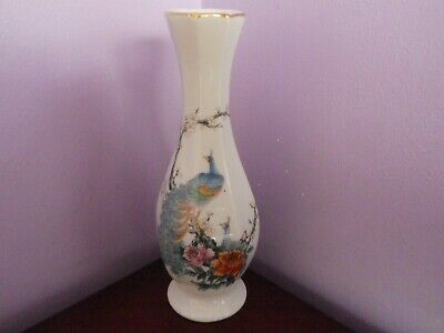 Fab Vintage Japanese Porcelain Peacocks & Roses Design Vase 21 Cms Tall
