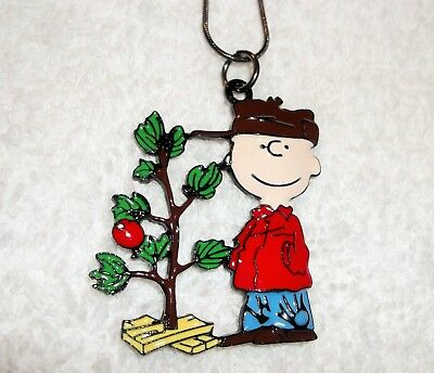 CHARLIE BROWN Large Charm NECKLACE + Gift Bag SNOOPY PEANUTS