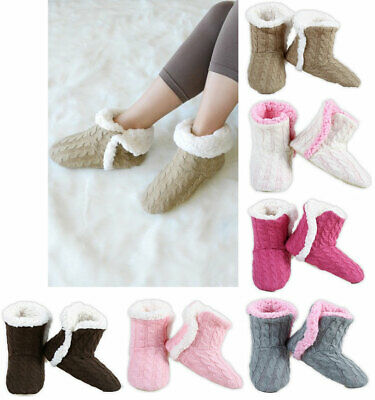 Women's Cable Knit Booties House Slippers w/ Sherpa Fleece Lining Non-Slip Soles