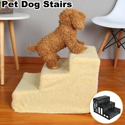 Dog Pet Stairs Cat Steps Indoor Ramp Folding Small Animal Ladder w/Cover For Bed