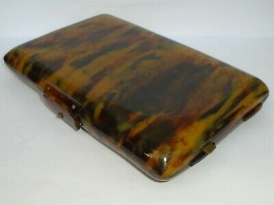Great Antique Vintage Large Faux Tortoiseshell Mirror Compact Vanity Jewel Case