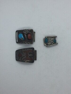 Vintage Sterling Silver Watch Fobs Turquoise Lot Of 3 Antique Navajo Native Tips