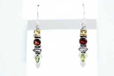 3.00Ct Natural Multi-Color Mixed Gemstone 4 Stone Dangle Earrings .925 Silver