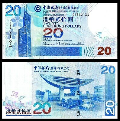 Hong Kong 1.1.2014 20 Dollars BOC - Bank Building//Bay Scene//p341d UNC