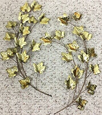 Vintage Brass Gold Tone Metal Ivy Leaves Wall Decor Sculpture Set Of 2