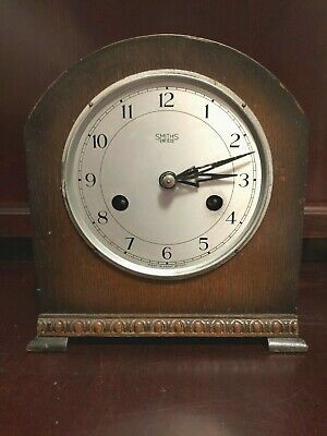 Smiths Enfield Wooden Mantle Clock with Beaded Front~ Selling For Parts~