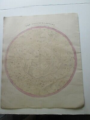 "1856 Burritt's ""The Constellations"", Southern Hemi, Geography Of Heavens Atlas"