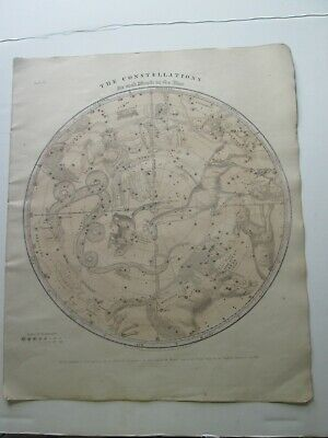 "1856 Burritt's ""The Constellations"", Northern Hemi, Geography Of Heavens Atlas"
