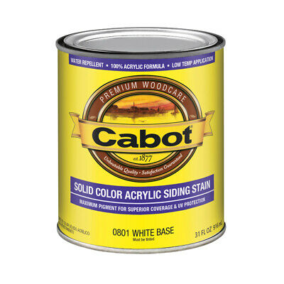 Cabot  Solid  Tintable White Base  Water-Based  Acrylic  Siding Stain  1 qt.