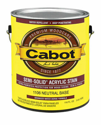 Cabot  Semi-Solid  Tintable Neutral Base  Water-Based  Acrylic  Stain  1 gal.
