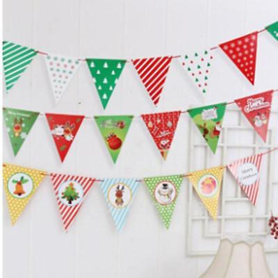 Christmas Bunting Garland Banner Hanging Flag Window Hanging Party Decor D