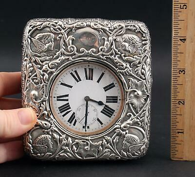 Antique Large Pocket Watch & English Sterling Silver Travel Case NR