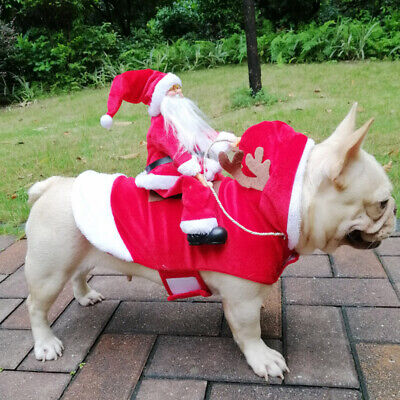 Christmas Santa Claus Pet Dog Fancy Dress Jacket Coat Costume Outfit Clothes AU