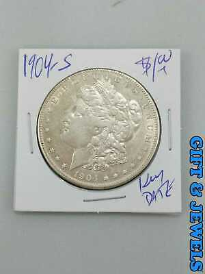 1904-S US MORGAN 90% SILVER DOLLAR COIN GREAT KEY DATE GOOD CONDITION #at062