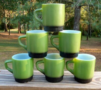 Vintage SET of 6 Fire King Green and Black Fired-on Milk Glass COFFEE MUGS VG NR
