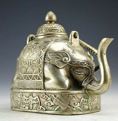 Collectibles china handwork elephant miao silver teapot