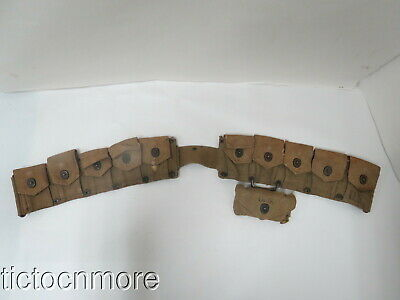 WWII US AMMO CARTRIDGE CANVAS BELT HINSON MFG. d. 1942 & FIRST AID POUCH