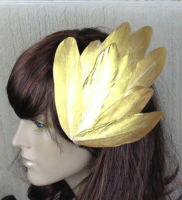 gold feather fascinator millinery hair clip wedding piece ascot race dance