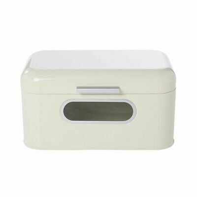 Bread Box for Kitchen Countertop, Retro Ivory Storage Bin Container with Lid
