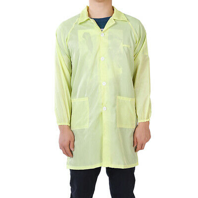Anti Static Overalls Unisex ESD Lab Coat Button Up S Yellow
