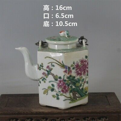 Chinese ancient antique hand make Pastel Flower and bird teapot a265