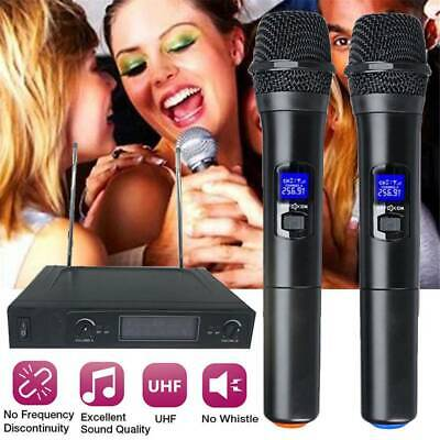 2X UHF Professional 2CH Wireless Dual Handheld Microphone Mic System LCD Display