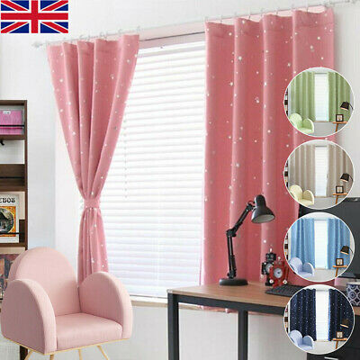 2pc Kids Baby Room Star Thermal Blackout Curtains with Ready Eyelets & Tie Backs