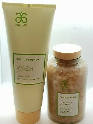 Arbonne Rescue & Renew Detox Wash 237ml And Detox Scrub 453g Brand New