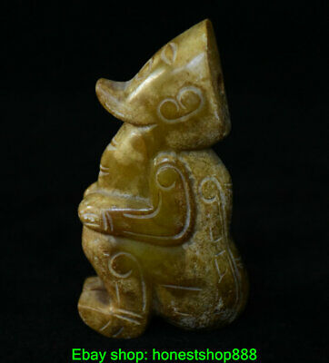 7cm Chinese Natural Old Hetian Jade Jadeite Carved Dynasty Palace People Statue