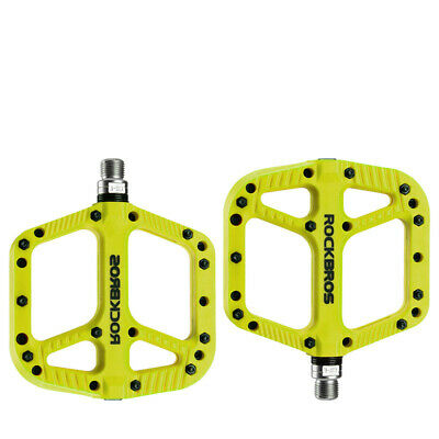 RockBros MTB Mountain Bike Bicycle Bearing Pedals Wide Nylon Pedals a Pair Cyan