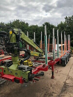 Timber Trailer with Loglift F118st96 Crane complete with Grab