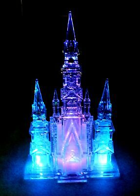 CLEAR ACRYLIC CATHEDRAL Church Castle LED Light Up Multi Coloured BOXED - M33