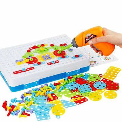 Drill Design Puzzle Creative Toys - Electric Drill Screwdriver Play Tool 2D 3D