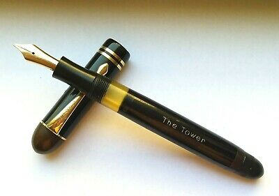 Vintage & rare 1940 The Tower  german fountain pen by Soennecken in black resin